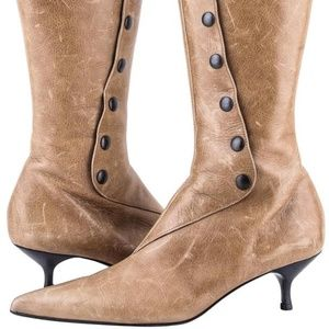 Sigerson Morrison Tan Brown Button Knee High Boots